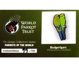 Collectors Enamel Pin Badges - no 4. Budgerigar - World Parrot Trust