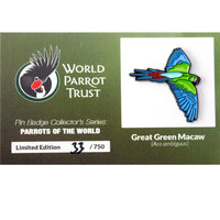 Collectors Enamel Pin Badges - no 2. Great Green Macaw - World Parrot Trust
