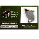 Collectors Enamel Pin Badges - no 5. African Grey Parrot - World Parrot Trust