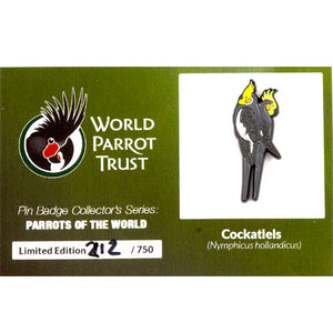 Collector's Enamel Pin Badges - no 3. Cockatiel - World Parrot Trust