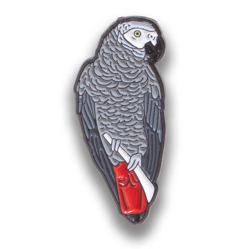 Collector's Enamel Pin Badges - no 12. African Grey Parrot - World Parrot Trust