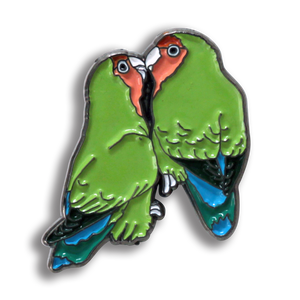 Collector's Enamel Pin Badges - no 6. Peach-faced Lovebirds - World Parrot Trust