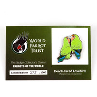 Collectors Enamel Pin Badges - no 6. Peach faced Lovebirds - World Parrot Trust