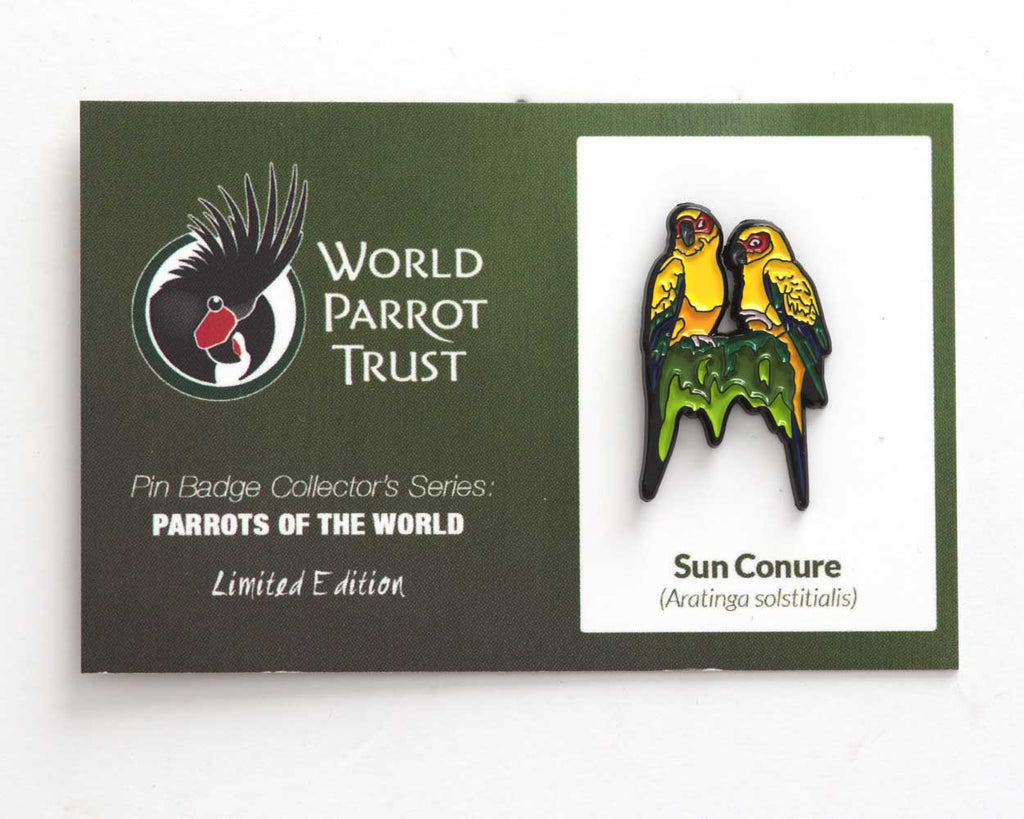 Collector's Enamel Pin Badges - no 9. Sun Conure - World Parrot Trust