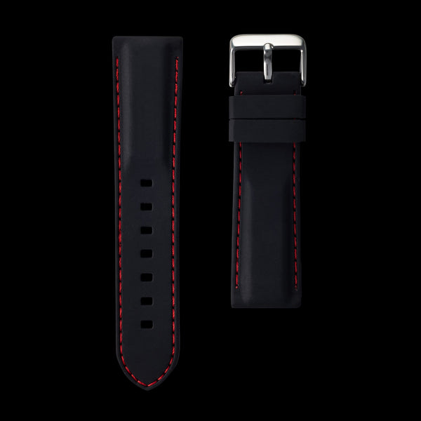 Red Stitching Black Silicone