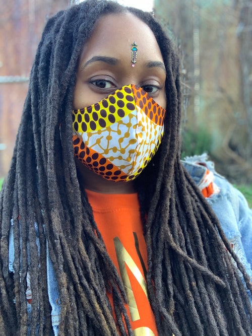 SUNBURST Reversible African Print Mask