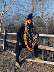 Long Unisex Reversible Mudcloth Scarf