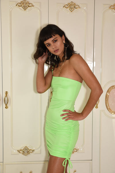 Midnight Ivy Dress - Neon Lime