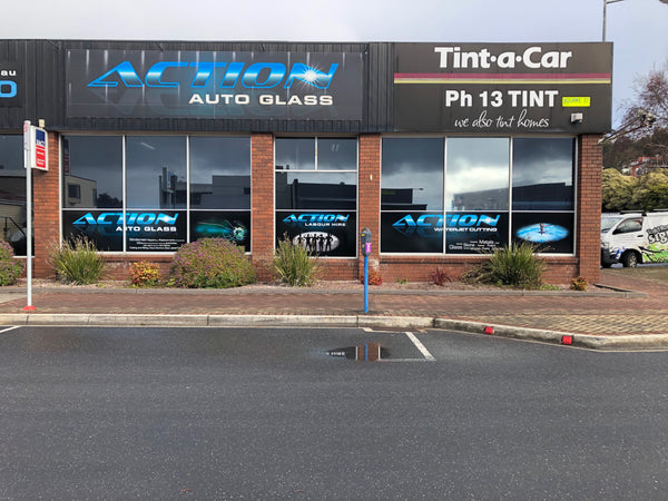 window signage for Action Autoglass