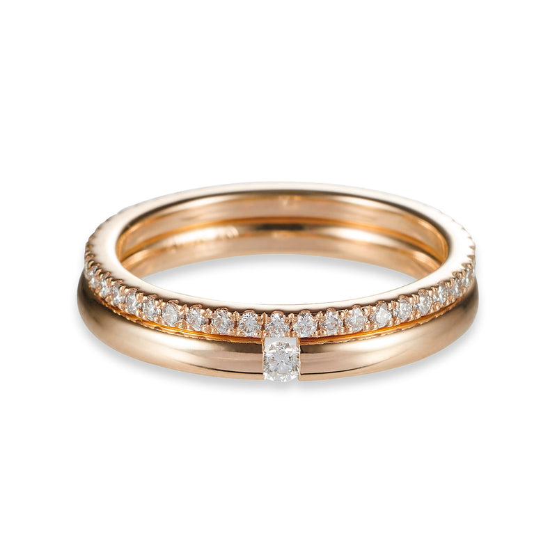 Fine Tension Set Diamond Band in Rose Gold