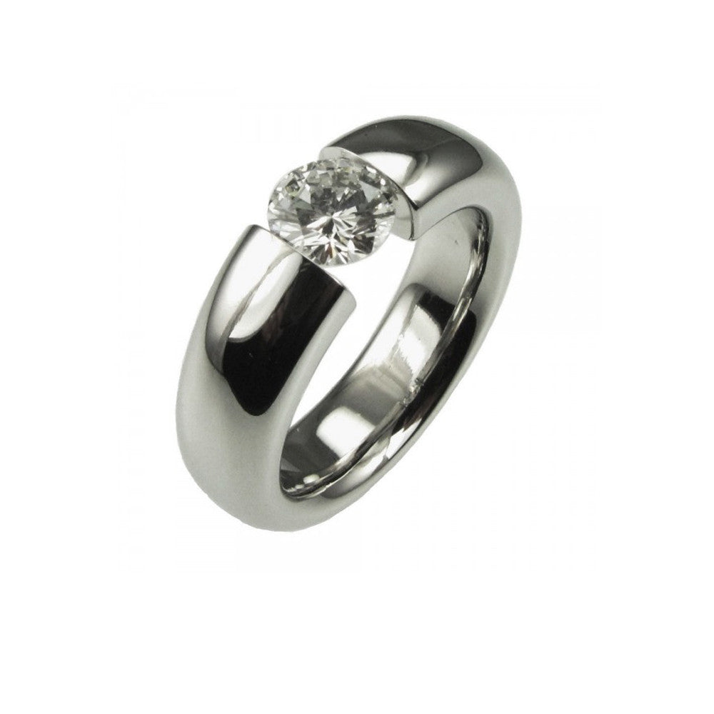 0.70ct Platinum Tension Set Engagement Ring.