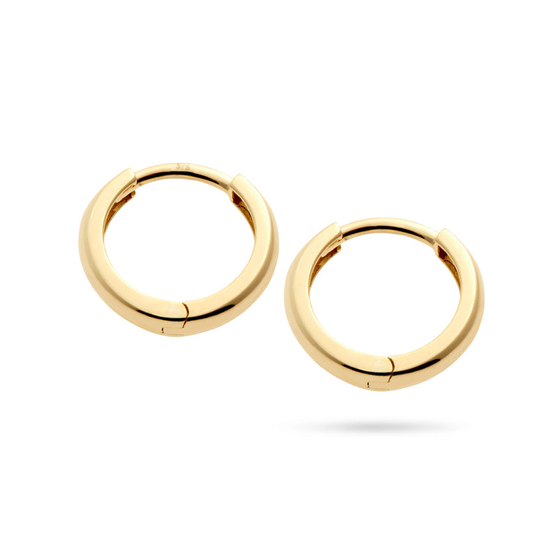 Italian Made 12mm Huggie Earrings in Yellow Gold