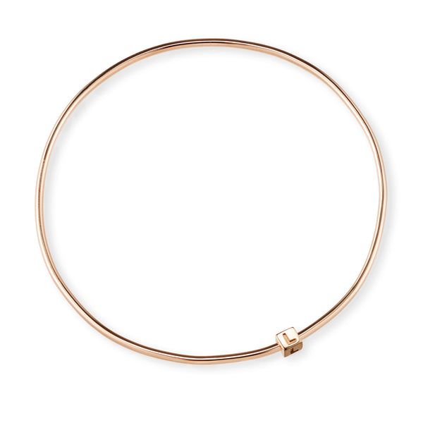 1 Cube Initial Bangle in Rose Gold