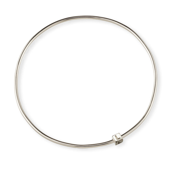 1 Cube Initial Bangle in Sterling Silver