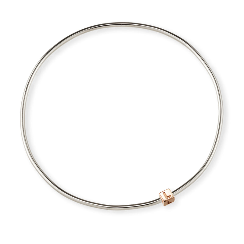 1 Cube Initial Bangle in Sterling Silver and Rose Gold