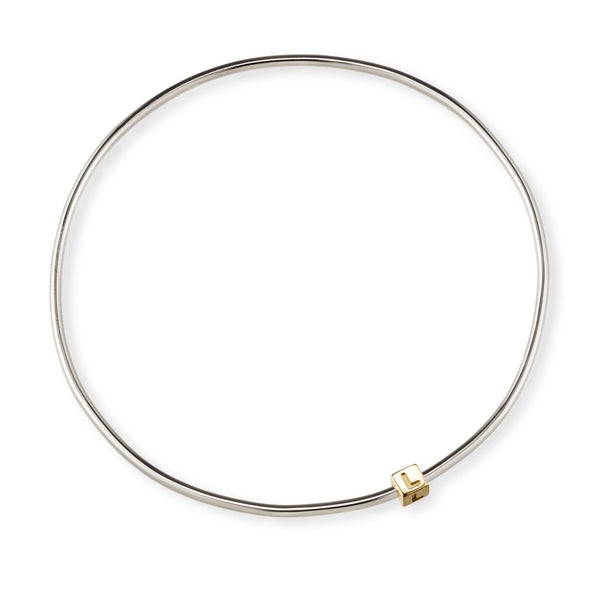 1 Cube Initial Bangle in Sterling Silver and Yellow Gold