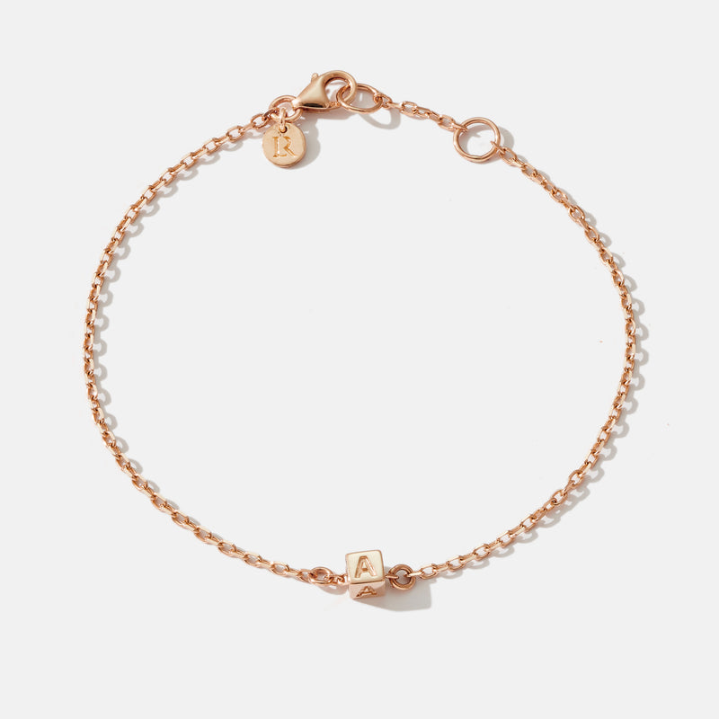 1 Cube Initial Bracelet in Rose Gold