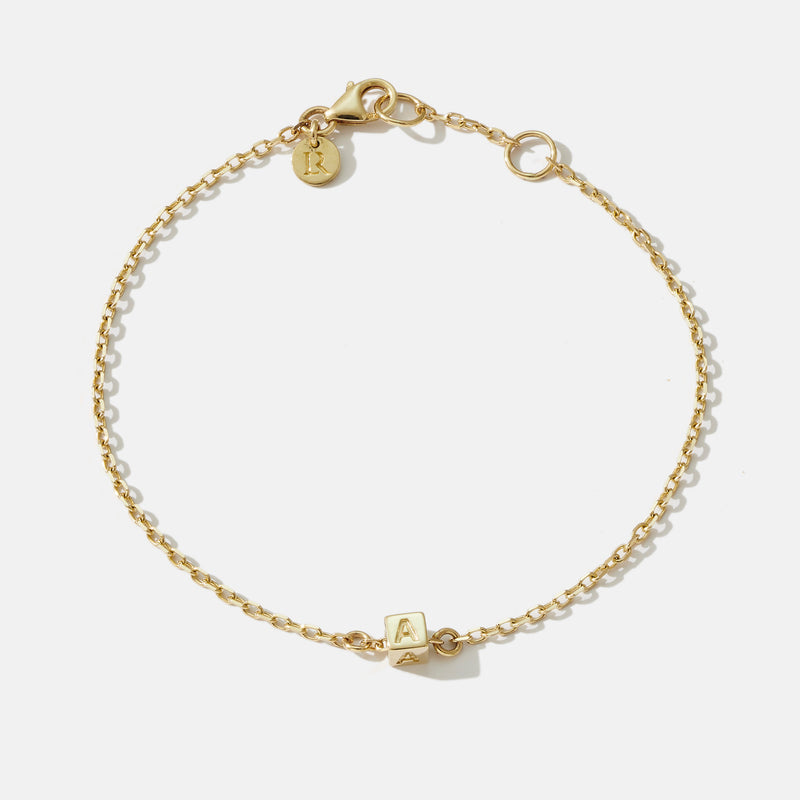1 Cube Initial Bracelet in Yellow Gold