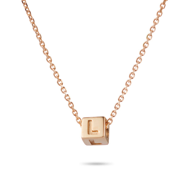 1 Cube Initial Necklace in Rose Gold
