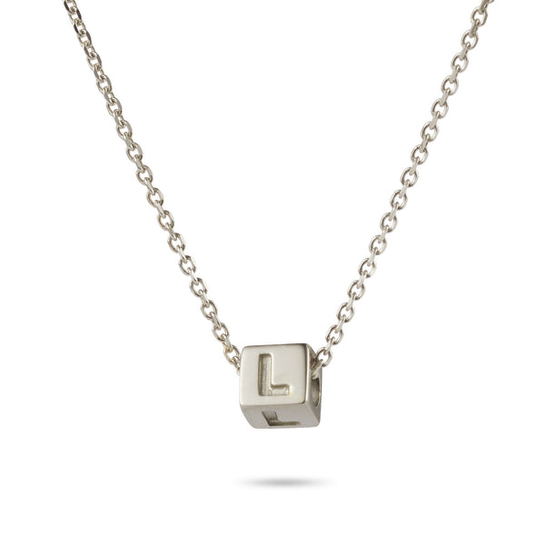 1 Cube Initial Necklace in Sterling Silver