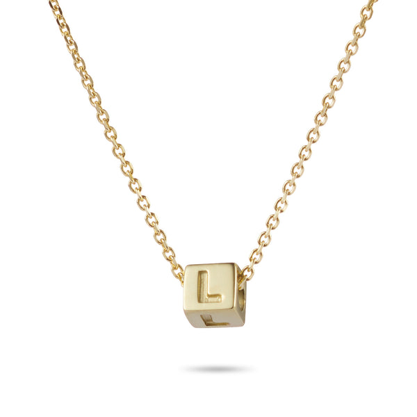 1 Cube Initial Necklace in Yellow Gold
