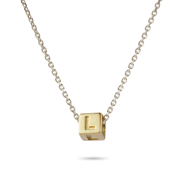 1 Cube Initial Necklace in Yellow Gold and Sterling Silver