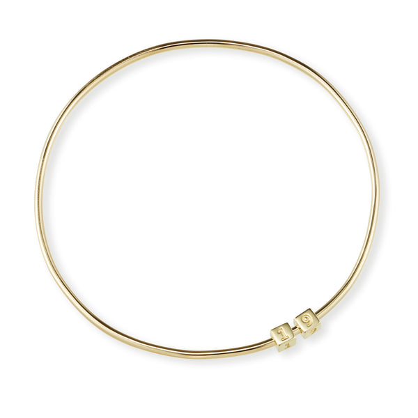 2 Cube Initial Bangle in Yellow Gold