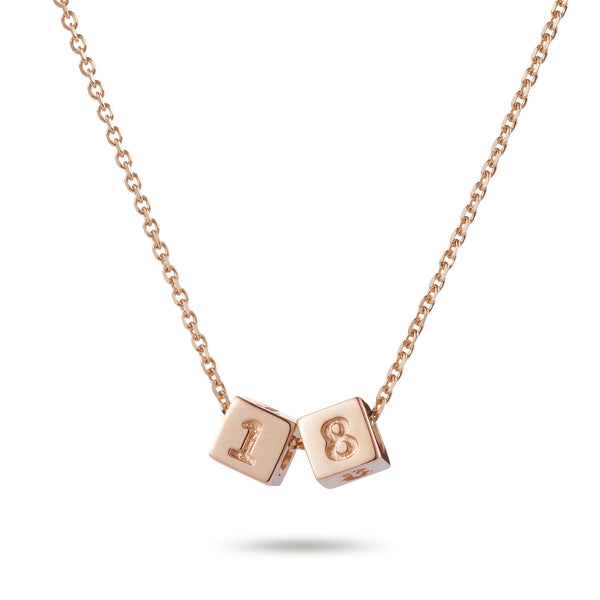 2 Cube Necklace in Rose Gold