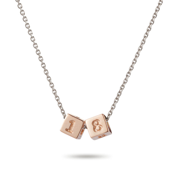 2 Cube Initial Necklace in Rose Gold and Sterling Silver