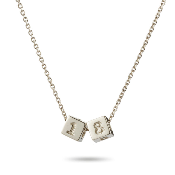 2 Cube Initial Necklace in Sterling Silver