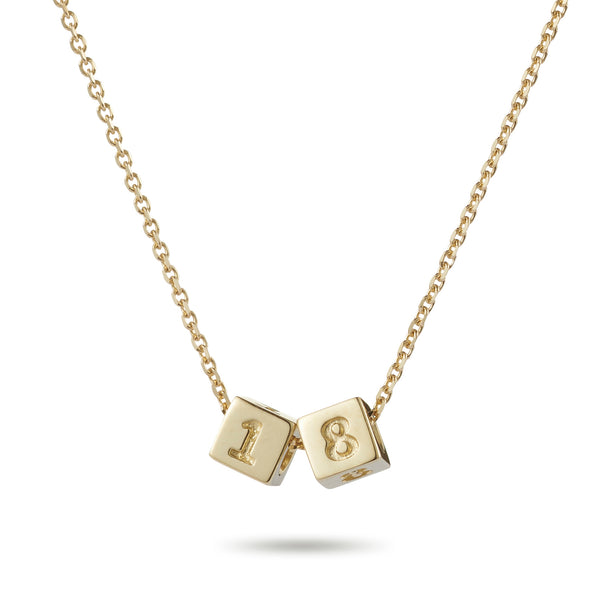 2 Cube Initial Necklace in Yellow Gold