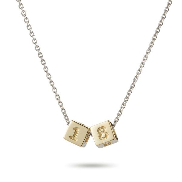 2 Cube Initial Necklace in Yellow Gold and Sterling Silver