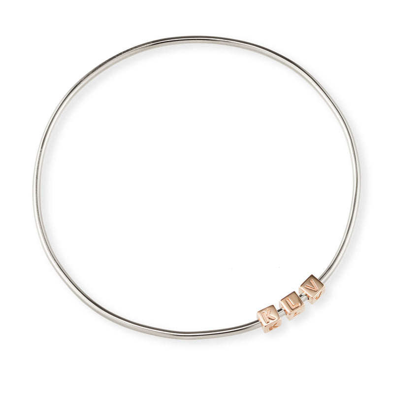 3 Cube Initial Bangle in Sterling Silver and Rose Gold