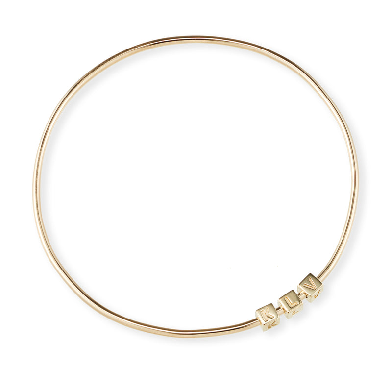 3 Cube Initial Bangle in Yellow Gold