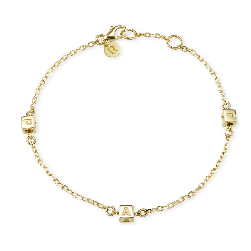 3 Cube Initial Bracelet in Yellow Gold