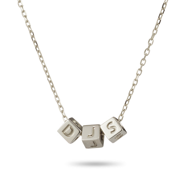 3 Cube Necklace in Sterling Silver