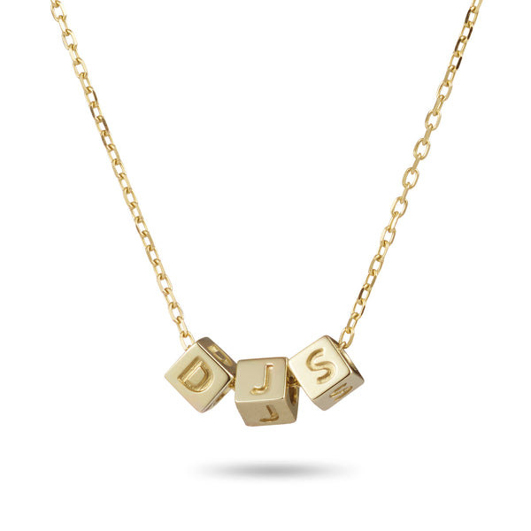 3 Cube Initial Necklace in Yellow Gold