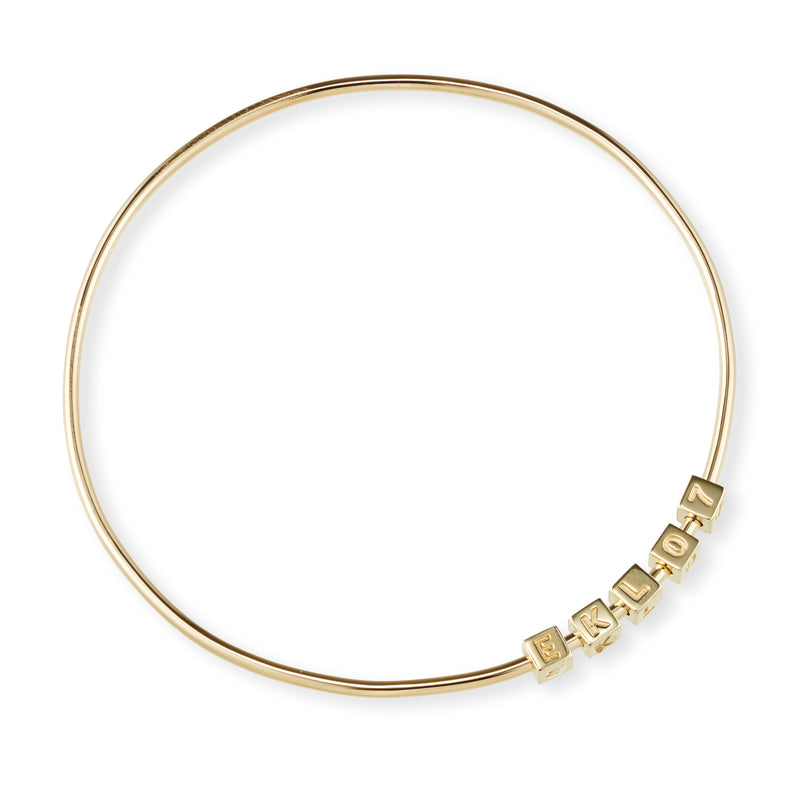 5 Cube Initial Bangle in Yellow Gold