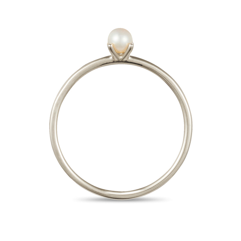 Akoya Pearl Stack Ring in White Gold