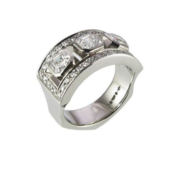 Asscher Cut Diamond Platinum Dress Ring.