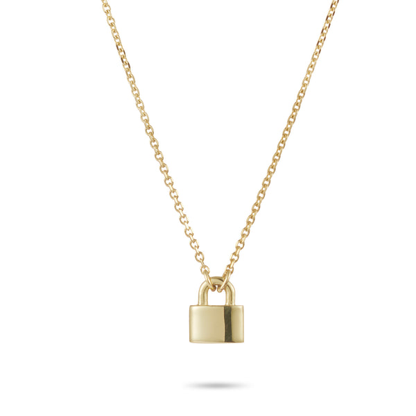 Love Lock Necklace in Yellow Gold