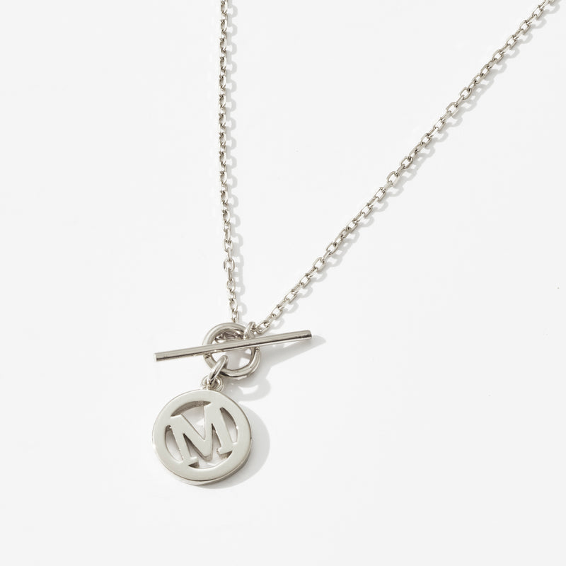 Baby T Bar Initial Necklace in Sterling Silver