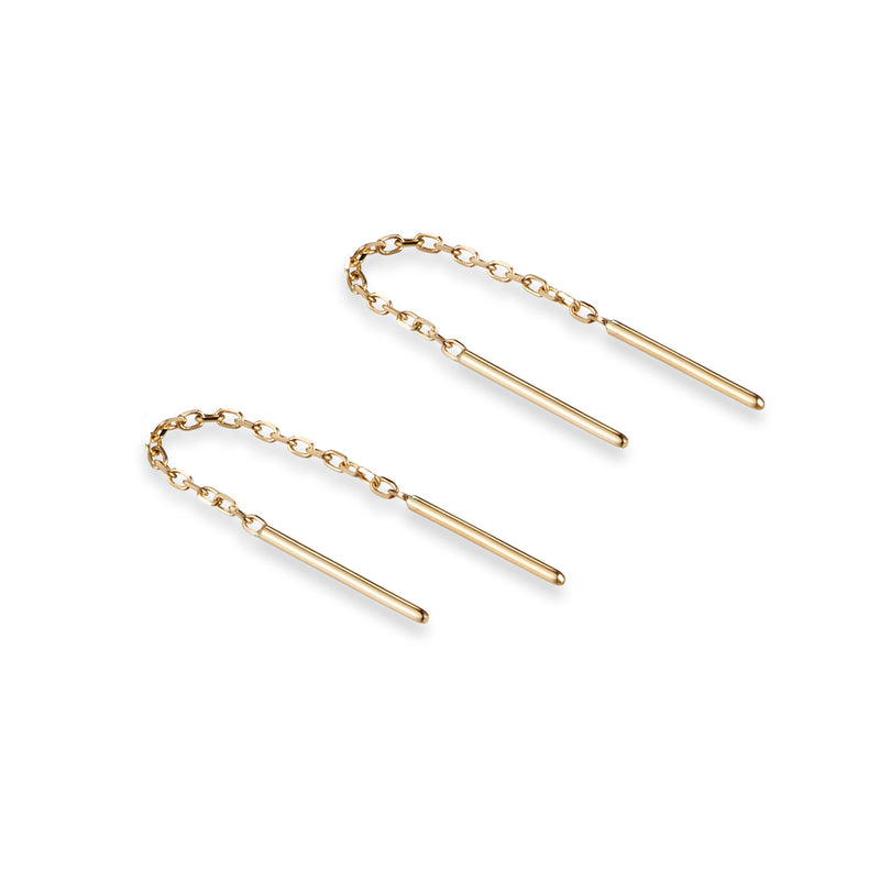 Baby Bar Thread Earring in Yellow Gold