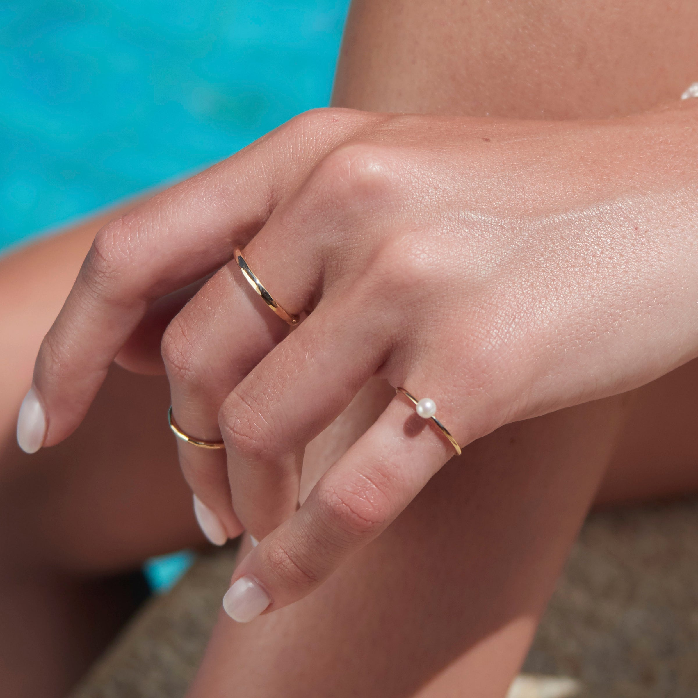 Baby Pearl Stack Ring in Yellow Gold