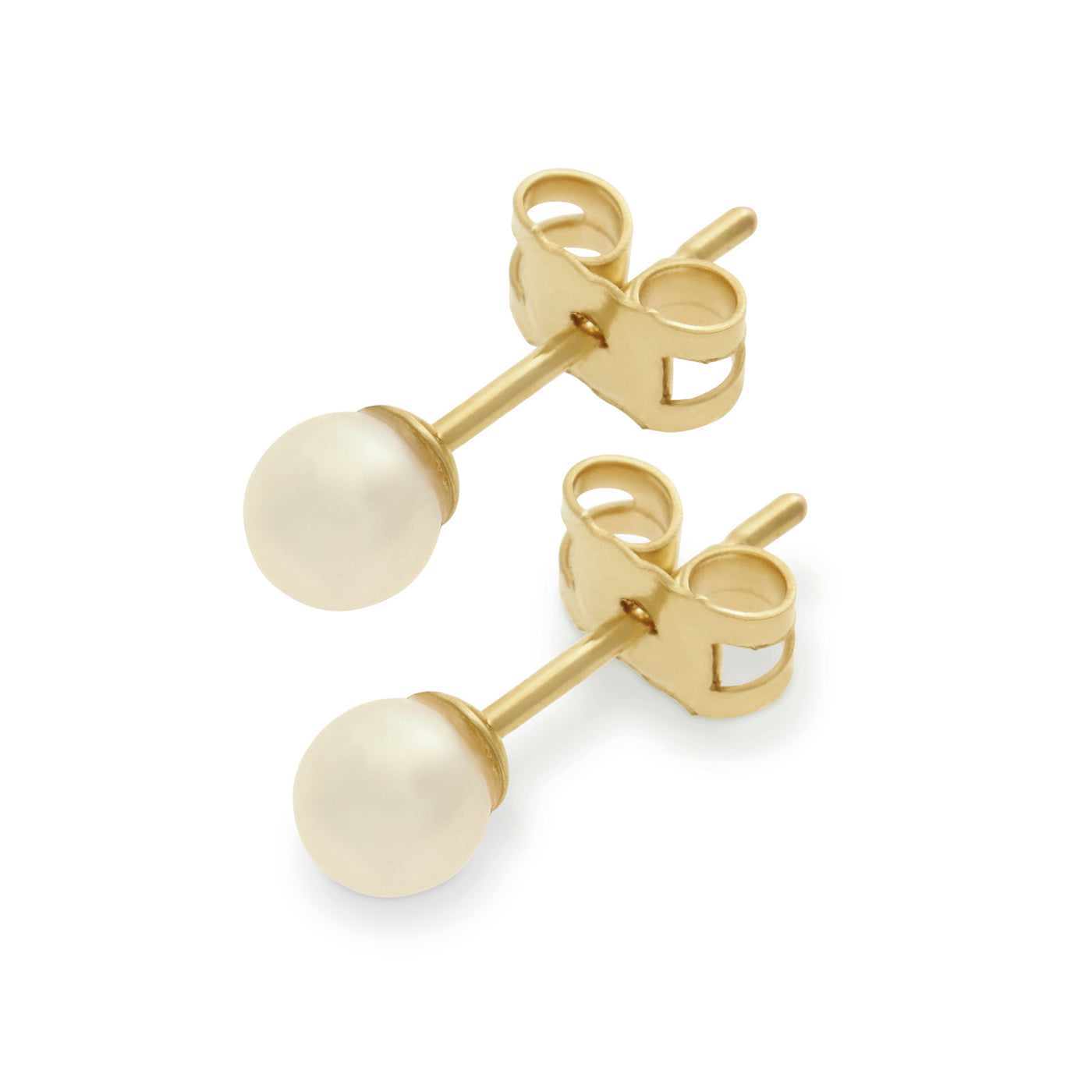 Baby Pearl Studs in Yellow Gold