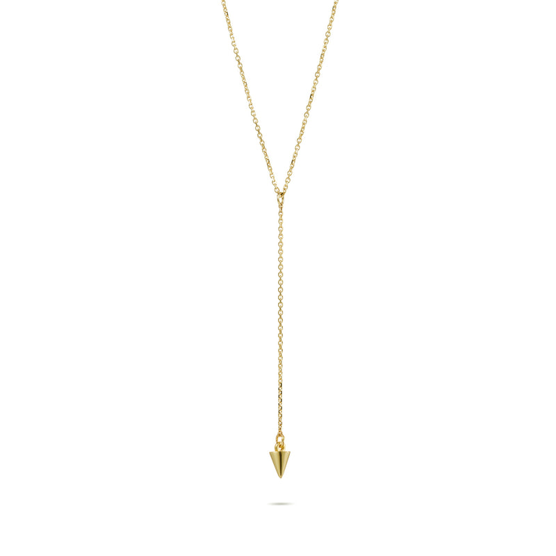 Baby Spike Lariat Necklace in Yellow Gold