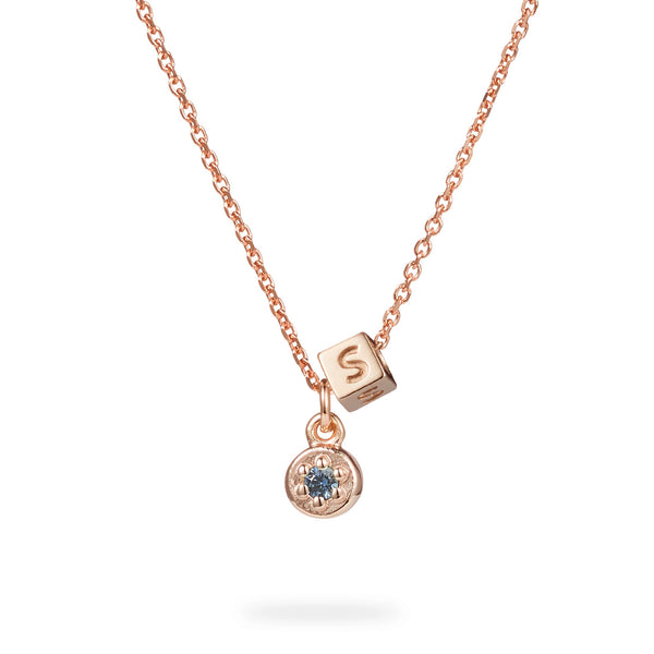 Birthstone Poppy Rock Initial Cube Necklace in Rose Gold