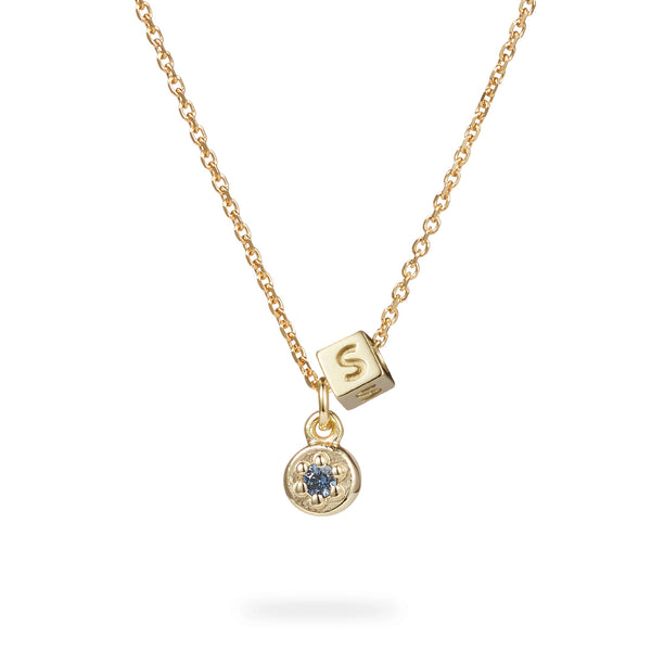 Birthstone Poppy Rock Initial Cube Necklace in Yellow Gold