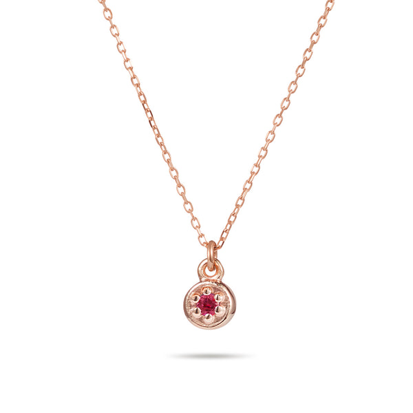 Birthstone Poppy Rock Necklace in Rose Gold