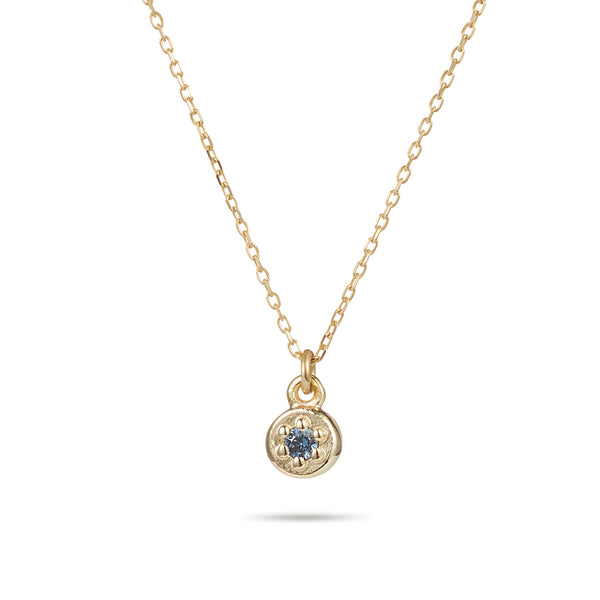 Birthstone Poppy Rock Necklace in Yellow Gold